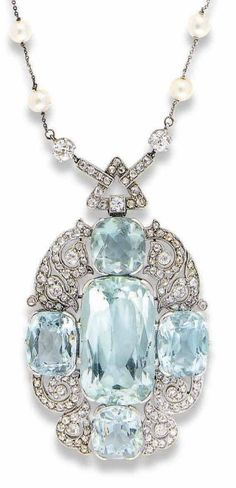 AN EARLY 19TH CENTURY AQUAMARINE, PEARL AND DIAMOND NECKLACE The oval shaped pendant with central rectangular-cut aquamarine flanked by four smaller aquamarines, with mixed-cut diamond scroll motif corners, triangular articulated surmount set with rose-cu