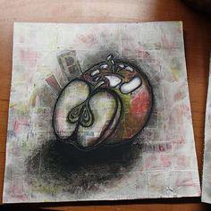 Des pommes /Apples Painting on collage (acrylique, pastels,encre/acrylique, pastel ans ink)