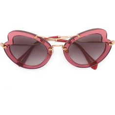 Miu Miu Eyewear wavy shaped sunglasses (568 350 LBP) ❤ liked on Polyvore featuring accessories, eyewear, sunglasses, glasses, pink, miu miu, acetate glasses, miu miu sunglasses, miu miu glasses and acetate sunglasses