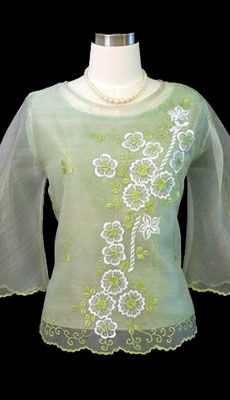 The demure appeal is perfect on this sweet organza With bell sleeves and floral design give this top a feminine fit. it up with a skirt or pair it with black dress pants for a Filipiniana Dress, Line Shopping, Black Dress Pants, Embroidered Blouse, Well Dressed, Trendy Fashion, Burgundy, Barong, Cute Outfits