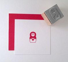 Mini Matryoshka Russian Nesting Doll Rubber Stamp by cupcaketree