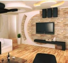 Decorate the walls in your house by using gypsum material. We all love to have the best and modern decor for the house. Our house deserves to have a Bedroom Tv Unit Design, Living Room Tv Unit Designs, Ceiling Design Living Room, Bedroom Wall Designs, Tv Wall Design, Bedroom Decor, Pop Design For Hall, Decor Room, Deco Tv