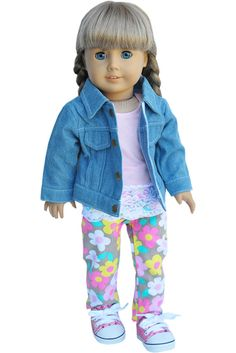 American Girl Clothes  Denim and Pastel by LoriLizGirlsandDolls, $36.00
