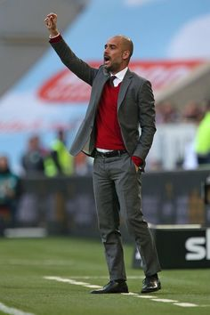 Pep Guardiloa; the Spanish manager who has patrolled the technical area in Munich and Barcelona.... http://www.wheelersluxurygifts.com/news/i-185-sartorial-footballers/