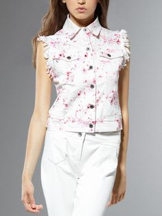 Acquista Giubbotto in tela di Cotone, senza maniche, bordo sfrangiato, in Cotone Canvas, con stampa Spring Flowers