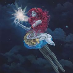 The Star Hanger, painting of a steam punk girl floating in night sky holding star, Girl, portrait, woman, sky, clouds, star, girl with pink hair, redhead, dancer, fairy, float, fly, lantern, lamp, light, muse, divine, art, creativity, carnival, steam punk, costume, flying, flight, art with poetry, inspiration, idealism, trompe l'oeil, soulful uplifting inspirational art, soul stirring illusion art, romantic art,  surrealism, surreal art, dreamlike imagery, fanciful art, fantasy art…