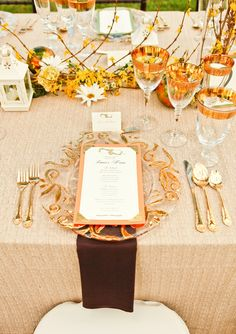 Elegant gold table settings | Polo Inspired Wedding Ideas via TheELD.com | The Majestic Vision and Krystal Zaskey Photography