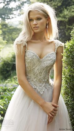 alvina valenta fall 2015 wedding dresses jeweled strap sweetheart neckline jeweled embroideried bodice tulle wedding ball gown av9561 close up
