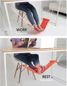 Fuut Desk Foot Rest: Work comfortably with your feet hanging on a hammock like foot rest.