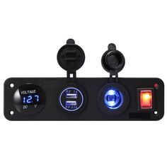 MagiDeal Caricabatterie Port Auto Moto Barca Dual USB con Display LED Switch