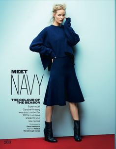 Meet Navy – For the November 2013 issue of Elle UK, Swedish fashion model Caroline Winberg dons chic pieces in the color of the season, navy. Lensed by photographer David Vasiljevic of Trouble Management, the blonde beauty wears Celine, Alexander McQueen, Ralph Lauren Collection, Chloe and more selected by stylist Natalie Wansborough-Jones in the studio …