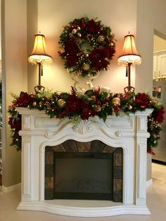 DIY Rustic Christmas Decorations For Fireplace Diy Christmas Fireplace, Christmas Mantels, Noel Christmas, Christmas Wreaths, Christmas Villages, Pink Christmas, Christmas Christmas, Christmas Ornaments, Gold Christmas Decorations