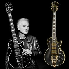 Jimmy Page with beautiful Gibson Les Paul guitars.