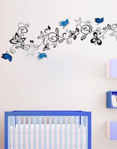 Flower Vine Blue Butterfly DIY Wall Stickers Home Decor Art Decals Wallpaper TV Background Decor adesivo de parede