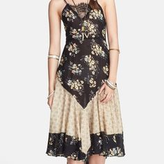 Free People Floral Slip Free People knee-length floral slip dress with lace-up back. NWT Free People Dresses Backless