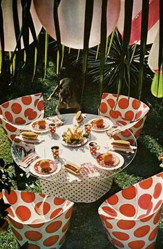 From a 1970s issue of House and Garden - spots theme outdoor party