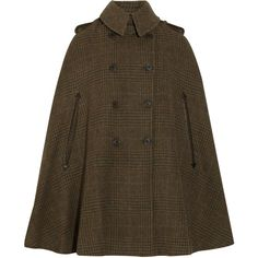 Ralph Lauren Black Label Heatherly tweed wool cape ($720) ❤ liked on Polyvore featuring outerwear, coats, jackets, capes, tweed cape, wool cape coat, wool coat, tweed cape coat and woolen coat