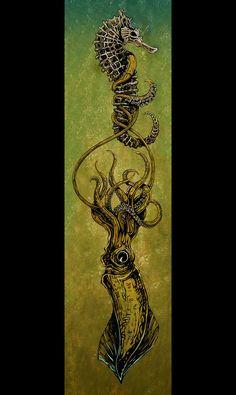 Squid Painting by David Lozeau