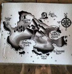 Peter Pan Neverland Map Tattoo Image