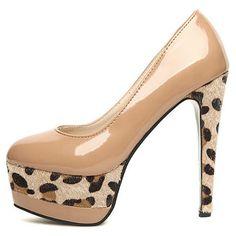 European Style Leopard Decoration Apricot Patent Leather High Heels | martofchina.com