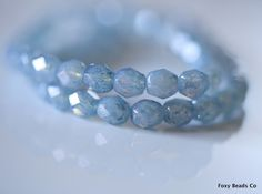 6mm Faceted Round Czech Glass Beads, Opalite Milky Denim Blue Fire Polished Faceted Beads CZFB003 by FoxyBeadsCo on Etsy