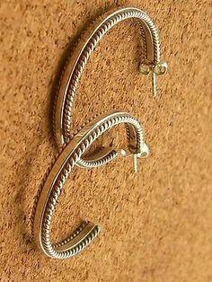 Navajo Tahe Roped Sterling Silver 925 Post Hoop Earrings (13.1g)