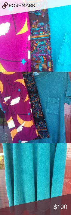 LuLaRoe 🦄 Acid-washed Carly Gorgeous unicorn,  blue/turquoise Acid washed Carly EUC! Worn once, comes with two pair of matching leggings! Willing to trade for the right Sarah, Julia or Shirley, as well! LuLaRoe Dresses High Low
