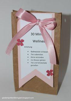 Gestempelte Mitbringsel: 30 Minuten Wellness in der Tüte