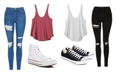 """""""Untitled #482"""" by cuteskyiscute ❤ liked on Polyvore featuring RVCA, Topshop and Converse"""