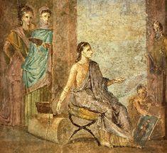 """""""Woman, painting a statue of Priapus.   Roman fresco from the Casa del Chirurgo (VI 1, 7-10-23) in Pompeii."""" """"Italiano: La Pittrice; Museo Archeologico Nazionale di Napoli (inv. 9018); affresco da Pompeii, Casa del Chirurgo (VI, 1, 10, ambiente 19), IV stile pompeiano (50-79 d.C.). Una donna pittrice dipinge una statua di Priapo."""""""