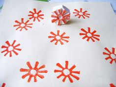 carved eraser stamped wrapping paper