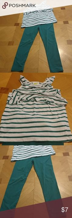 Crazy 8 outfit Crazy 8 outfit. Size 5-6 girls. Green and white striped tank top shirt with green legging pants. Excellent condition. Smoke free home. crazy 8 Matching Sets