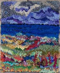 Summer on the Bay Hooked Rug by Deanne Fitzpatrick. Colorful landscape and blue sky.