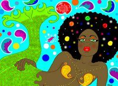 """""""Psychadelic Mermaid"""" by Louise Alva Framed Wall Art, Wall Art Prints, Fine Art Prints, Canvas Prints, Framed Prints, Black Mermaid, Mermaid Art, Natural Hair Art, Black Angels"""