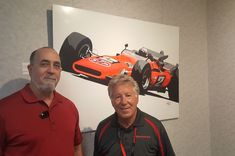 Mario Andretti & I at IMS Museum exhibit honoring tge 50th anniversary of Mario Andretti's winning the 1969 Indianapolis 500.