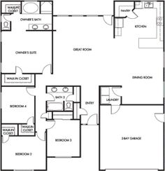 Home floor plans exterior on pinterest floor plans for 2000 sq ft open house plans