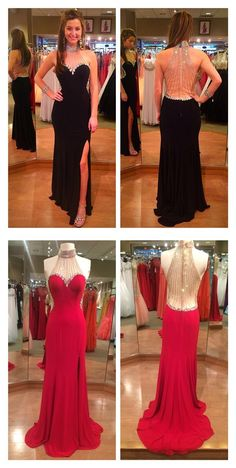 sequined high-neck mermaid slit prom dress