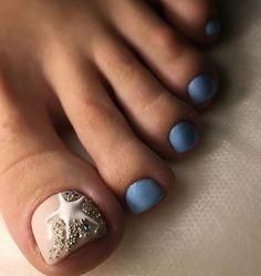 Manicure, Pedicure Nail Art, Toe Nail Art, French Pedicure, Pretty Toe Nails, Cute Toe Nails, Pretty Toes, Beach Toe Nails, Pretty Pedicures