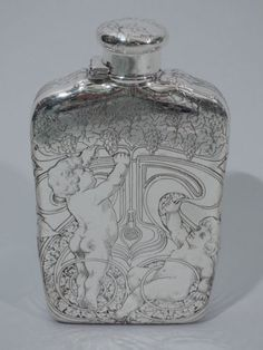 Tiffany-Flask-7076-Antique-Cherubs-Picking-Grapes-American-Sterling-Silver Silver Jewelry, Fine Jewelry, Cherubs, Flasks, Whiskey, Tiffany, Barrel, Sterling Silver, American