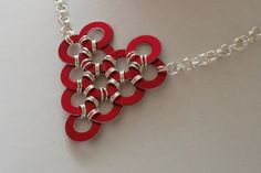 Red & Silver Necklace. Chainmaille for Charity. Family Heart.