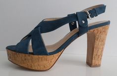 BARNEYS NEW YORK Slingback Blue Suede Heels Size 9 #BarneysNewYork #Slingbacks