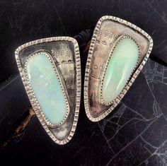 Triangle Opal Earrings by danaevansstudio on Etsy