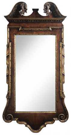 Chippendale Style Walnut and Parcel Gilt Mirror