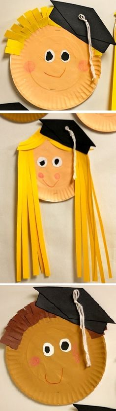 DIY diploma for preschool or kindergarten - girl and boys with paper plates - Pre-school Bethany Ford Graduation Crafts, Pre K Graduation, Graduation Theme, Kindergarten Graduation, In Kindergarten, Graduation Ideas For Preschool, Preschool Projects, Classroom Crafts, Preschool Activities