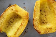 An easy tutorial on how to cut, de-seed, and roast spaghetti squash. Spaghetti squash makes for a delicious and healthy gluten-free meal! Healthy Gluten Free Recipes, Diabetic Recipes, Cooking Recipes, Healthy Food, Paleo, Spaghetti Squash Pasta, Great Recipes, Dinner Recipes, How To Make Spaghetti