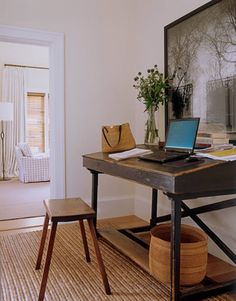 Barefoot Contessa - Barn - Ina Garten - House Beautiful. Ina's office space in an alcove outside the bedroom. The antique desk is from Bloom in Sag Harbor. Photo of Luxembourg Gardens by Jean-Michel Berts. Walls are Farrow & Ball White Tie.
