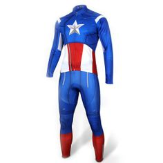 72057ef71 Close-Fitting Stand Collar Captain America Costume Long Sleeve Cycling Suit  (Jacket+Pants) For Men