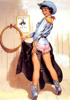 Cowgirl Pinups-Lot of Two-Elvgren Prints both Large Wood Framed/Glass/Print-$99.99