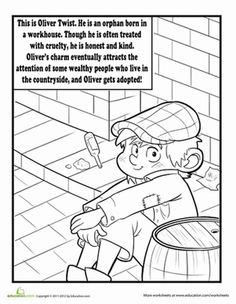 A Charles Dickens story never looked so cute as this coloring page does: featuring Oliver Twist. Give your child an early start with this story page printable!