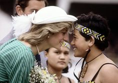The Princess of Wales exchanges the traditional Maori greeting of a nose rub during her visit to Auckland, New Zealand on April 18, 1983